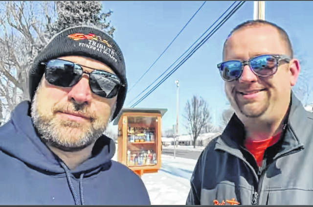 Unseasonably frigid temperatures has left many Texans without power, dealing with lack of heat and bursting water pipes, Pastor Wes Lynch (right) of the Radiant Lighthouse Church in Greenville and Eric Fee (left), of Tribute Funeral Homes, are asking for Darke County residents to help the relief efforts with donations of water, in cases or gallons. Radiant Hope Ministries will head out to Texas on Tuesday.