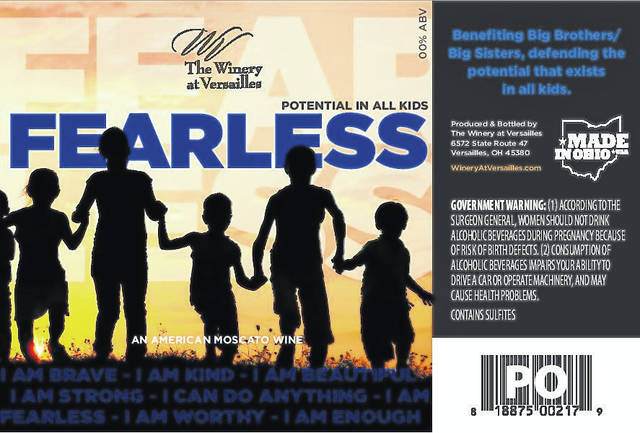 """Fearless,"" the new Mango-Moscato wine debuted this past fall at The Winery at Versailles helps support Big Brothers/Big Sisters of Shelby & Darke County in their efforts to reach more youth through programs. Each bottle gives back $2 to BBBS, and can be purchased by calling The Winery at Versailles at 937-526-3232."