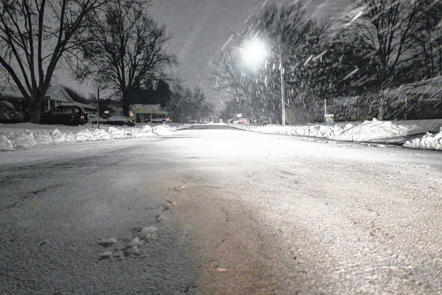Monday night snowfall caused two Darke County schools to cancel Tuesday classes. Additional snow is expected Wednesday, followed by a steep drop in temperatures over the weekend.