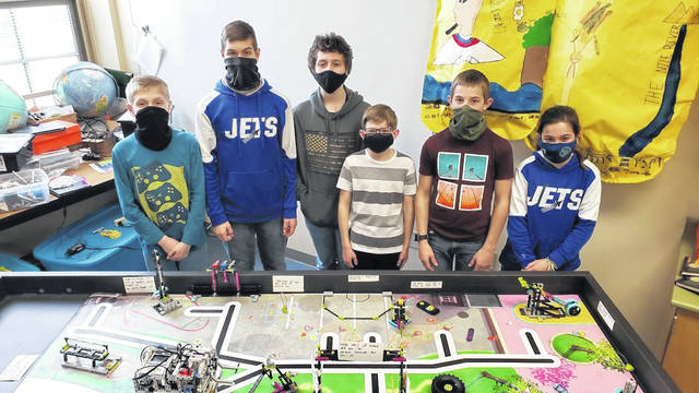 Participating students this year are (from L to R) Eddie Heck, Jackson Crist, Brent Shofner, Ian Norris,Hunter Cottrell, and Chelsie Eyler. The Franklin Monroe-Bots are coached by Lisa Wendel and Brian Happy.