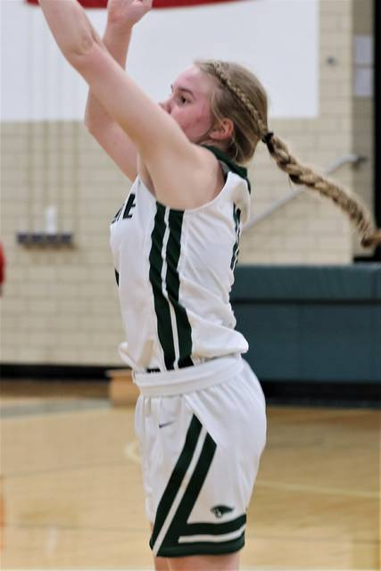 Greenville sophomore Skylar Fletcher hits a 3-pointer for the Lady Wave in Tuesday night MVL play with Stebbins.