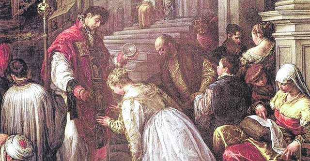 St. Valentine, as depicted in 1575 by artist Jacopo Bassano, in <em>St. Valentine Baptizing St. Lucillac.</em> Valentine, a priest (perhaps, even, a bishop) secretly performed marriages for young couples in defiance of imperial law, for which he was beheaded by Claudius II on Feb. 14, 270 A.D.