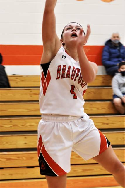Bradford's Austy Miller scores two of her game high 24 points in the Lady Railroaders non-conference win over the Sidney Lehman Catholic Lady Cavaliers.