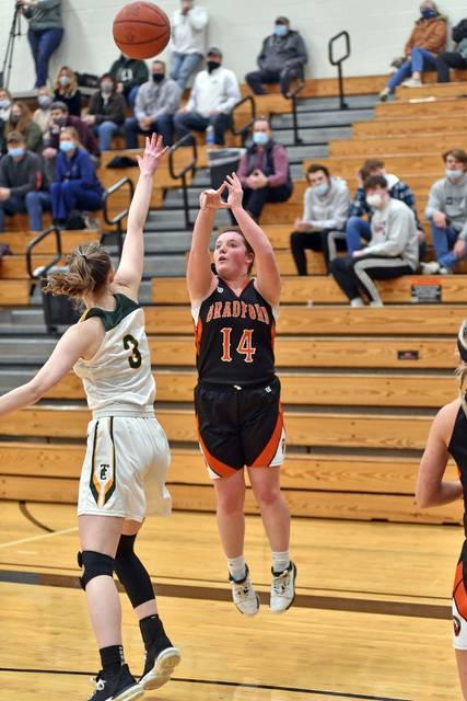 Abby Fike drills a Bradford 3-pointer in the Lady Roaders tournament win over Troy Christian.