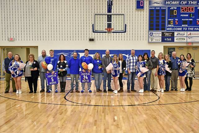 Franklin Monroe seniors are honored before the varsity game with Bradford.