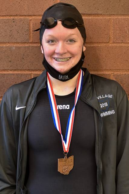 Tri-Village's Lucie Morris medals at State.