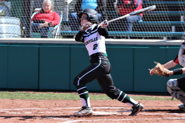 Alaina Baughn crushes a grandslam; one of her two second inning hits good for five second inning RBIs in the Lady Wave's win over the Wayne Lady Warriors.