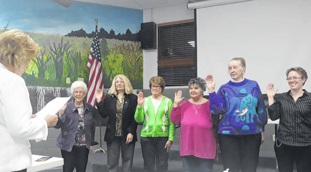 The Darke County Republican Women's Club approved and installed their new officers for 2021-2022, and were honored by a visit from the Ohio Federation of Republican Women President, Mary Beth Kemmer, who officiated the swearing-in ceremony. New DCRWC officers are (right to left): Jaime LeVeck (President), Lyn Bliss (1st Vice-President), Delores Ely (2nd Vice-President), Sherry Ward (Secretary), Cindy Pike (Treasurer), and Wavelene Denniston (Corresponding Secretary).