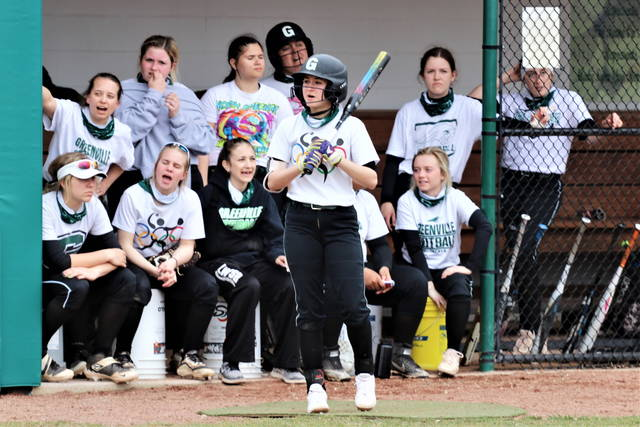 The LWSB dugout cheers on a teammate at the plate in scrimmage play with the Lady Raiders.