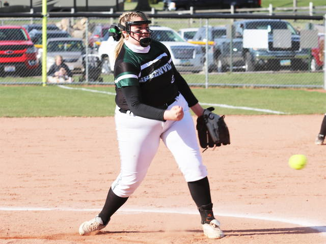 Kylie Hamm tosses five-innings for Greenville to get the win in the Lady Wave's win over the Troy Lady Trojans.