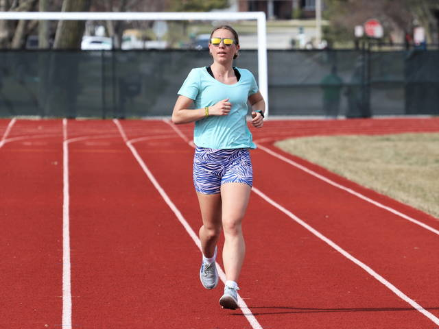 Greenville senior, Isabelle 'Izzy' Rammel puts time in on the track in preperation of the 2021 OHSAA track and field season.