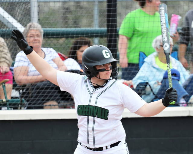 Alli Hill stands in at the plate in 2017 Lady Wave softball action.