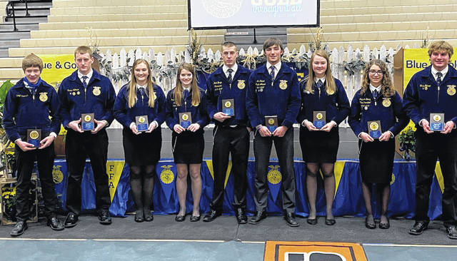Chapter and State Proficiency Award winners from left to right: Cory Timmerman, Carter Luthman, Mallory York, Renea Schmitmeyer, Noah Barga, Alex Kaiser, Breanna Nieport, Madison Henry, and Wes Gehret.