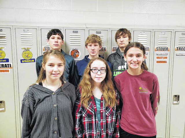 The Versailles FFA High School and Middle School members competed in the State FFA General Livestock Career Development Event over zoom on Monday, March 29. Pictured in the back row is (left to right): Versailles FFA General Livestock Judging Team Luke Winner, Lincolon Winner and Kobe Epperly. Front row (left to right): Emma Middendorf, Asa DeMange and Dakota Overholser.