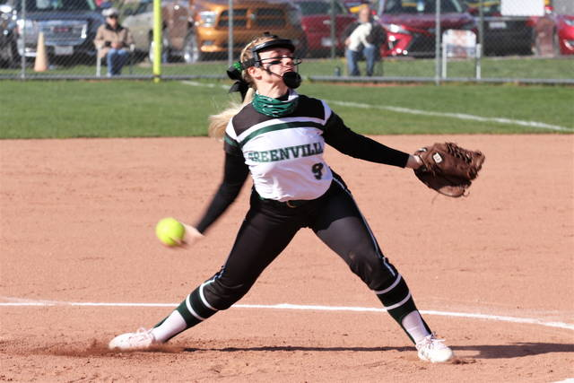Greenville's Grace Shaffer throws a no-hitter over the Tippecanoein the Lady Wave' MVL run rule win over the Lady Red Devils.