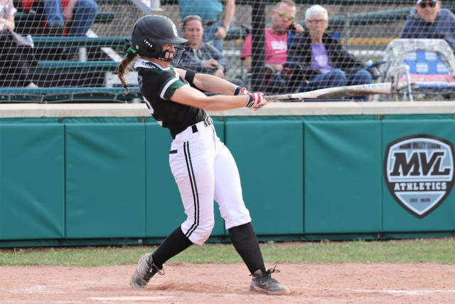 Alaina Baughn drives in one of her four RBIs in the Lady Wave's run rule win over the Fairborn Lady Skyhawks.