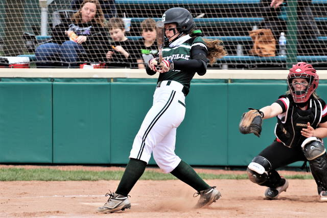 Alaina Baughn drives home a run with one of her two hits on the day in the Lady Wave's 13-3 run rule win over Triad.
