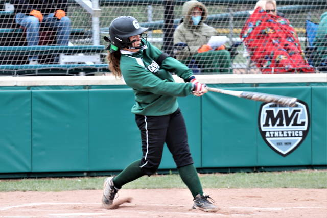 Greenville's Alaina Baughn picks up a double for one of her two hits in the Lady Wave's MVL win over Xenia.