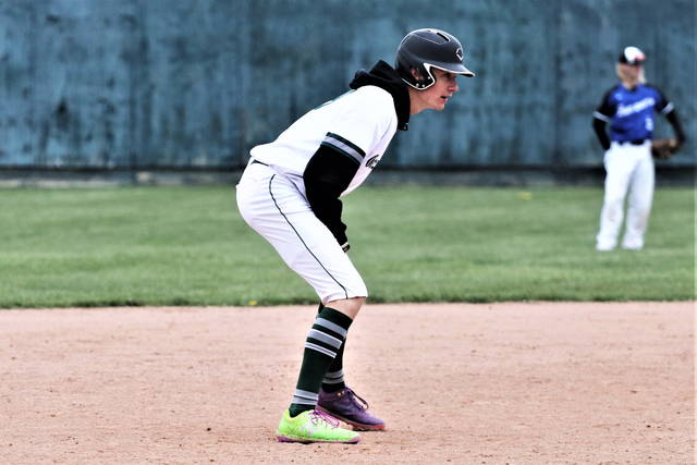 Alex Baumgardner gets a lead at second for Greenville in the team's MVL win over the visiting Buccaneers.