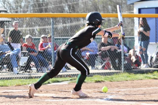 Bri Fellers collects one of her three hits for the Lady Wave in the team's MVL win at Piqua.
