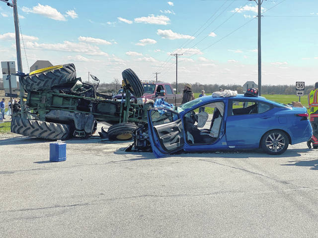 A woman was killed following a collision between a car and tractor Wednesday at the intersection of State Routes 36 and 721, near Bradford.