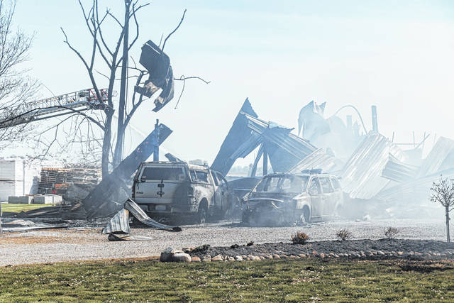 Multiple fire crews across Darke County responded to a 3-alarm fire near Arcanum Tuesday afternoon. A barn and its contents were destroyed by the blaze.