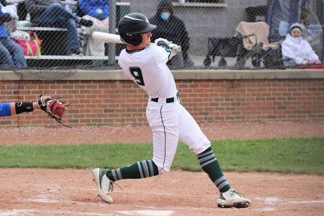 Conner Mills knocks a hit for Greenville in non-conference play with the CJ Eagles.