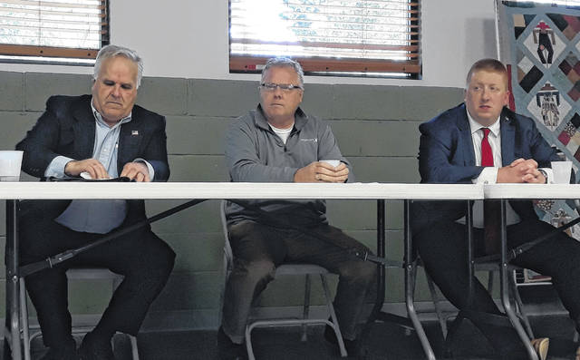 """The Darke County Republican Women's Club hosted a """"Meet the Primary GOP Candidates"""" event. Pictured are Jeff Whitaker (left), John Baumgardner (center), and Brian Brown (right). The GOP Primary Election is Tuesday, May 4."""