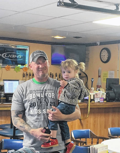 Big Brothers, Big Sisters of Shelby and Darke County's Bowl For Kids' Sake is being held at Bel-Mar Lanes in Sidney and McBos Lanes in Versailles. Pictured is David Stafford and Charli Pierce who bowled on Carol Peirce's team.