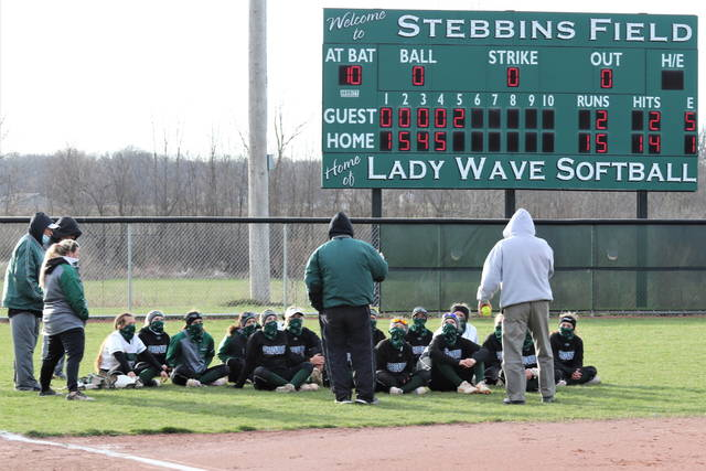 Greenville Lady Wave Coach Jerrod Newland and staff talk to the team following a non-conference win over the Springfield Lady Wildcats.