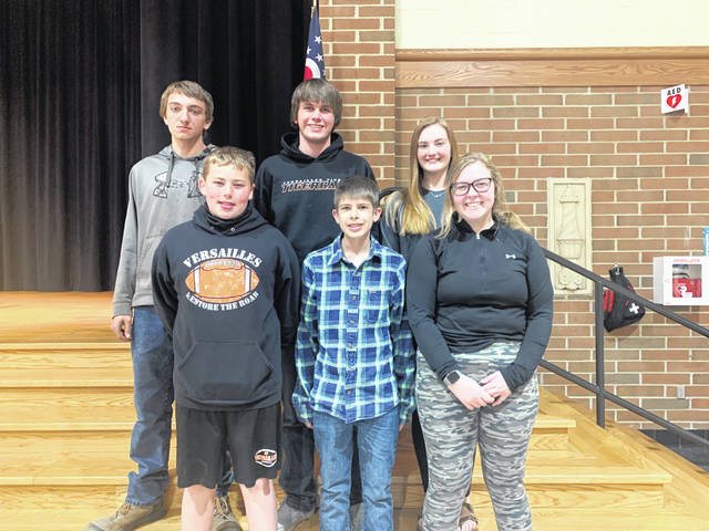The Versailles FFA Members elected the assistant officers for the 2021-2022 school year on April 19, at the April FFA meeting. Pictured are the new assistant officers (back row, left to right): Noah Shimp, Clay Bergman, Mallory York; (front row, left to right) Colin Batten, Grifon Miller, and Lauren Sherman.