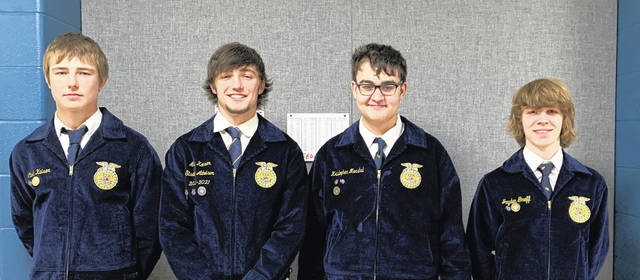 The Versailles FFA virtually participated in the State Environmental and Natural Resources Career Development Event and placed first in the state on Friday, April 16. Shown are (left to right) Versailles FFA members Caleb Kaiser, Alex Kaiser, Kristopher Marshal, and Jayden Groff.