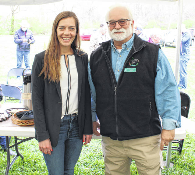 Darke County Parks welcomed the historic Bear's Mill into its family of parks on Saturday afternoon. Pictured is State Rep. Jena Powell and Darke County Parks Director Roger Van Frank.
