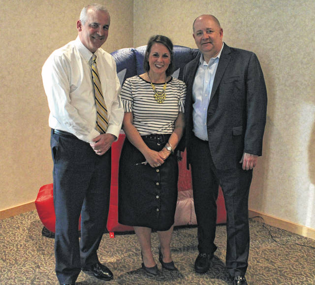 The Darke County Republican Party held its annual Lincoln Day dinner Saturday evening. Pictured (left to right) is Ohio State Senator Matt Huffman, Chairman of the Darke County Republican Party Katie Deland and Ohio Republican Party Chairman and keynote speaker Bob Paduchik.