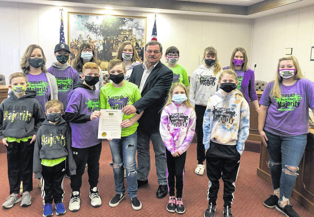 "Greenville Mayor Steve Willman was joined by a group of students from Greenville Schools for the signing of a proclamation dedicating the week of April 5 through 9 as ""We are the Majority Week."""