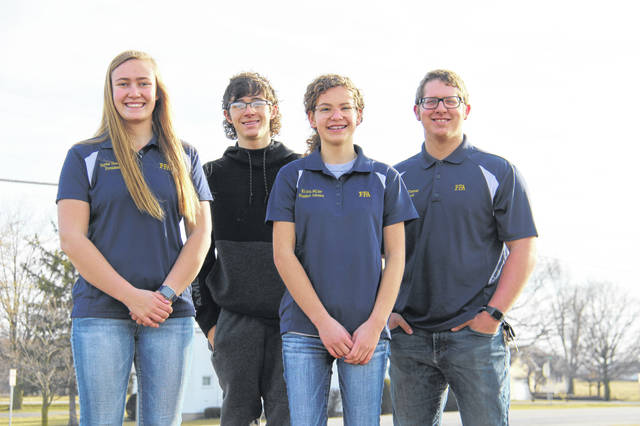 Students in the advanced agriculture class participated in the online farm business management contest on March 2. From left to right, Taylor Stachler, Troy Woodbury, Krista Miller, Hawk Thomas.