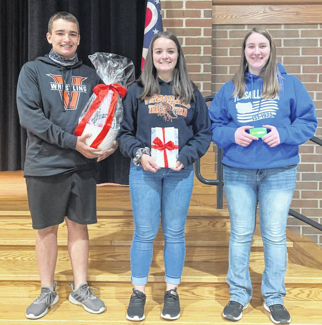 Versailles FFA Members who placed in the baking contest are (left to right) Andrew Wuebker, first place; Tori Wuebker, second place; and Lydia Gilmore, third place.