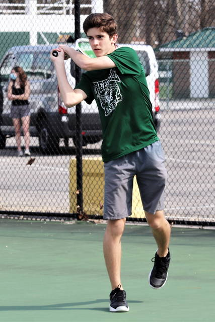 Greenville first singles, Jack Marchal picks up a win over Saint Marys.