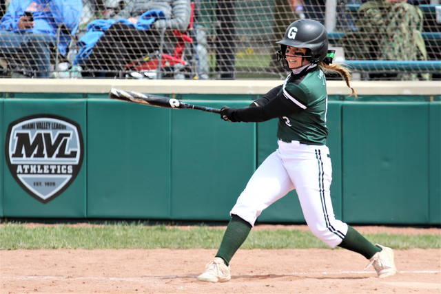 Greenville's Skylar Fletcher collects one of her two hits in the Lady Wave's non-conference win over the West Clermont Lady Wolves.