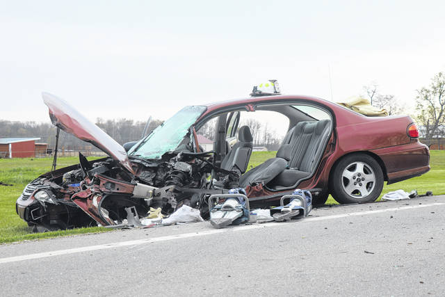 First responders had to mechanically extract a car's driver following a two-vehicle collision Friday on U.S. Route 36. The driver was airlifted with serious but non-life-threatening injuries.