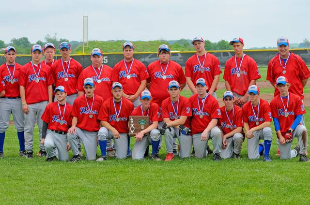Tri-Village Coach Jim Maples and the 2010 OHSAA District runner-up Patriots baseball team.