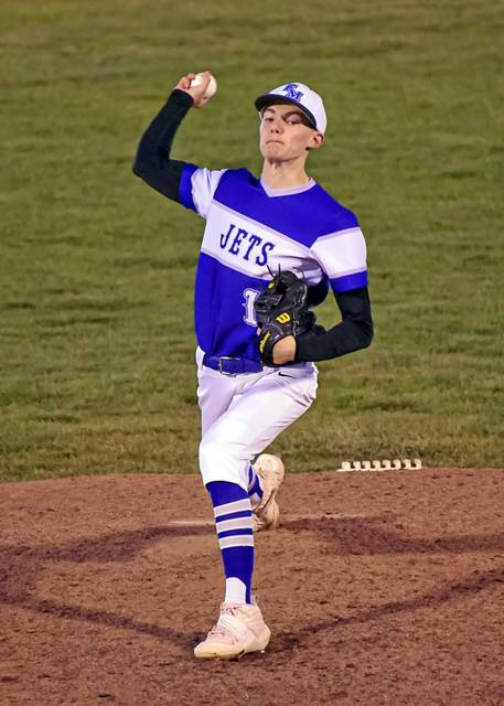 Franklin Monroe senior, Bendan Hosler pitches 6.1 strong innings for the Jets in game with Arcanum.
