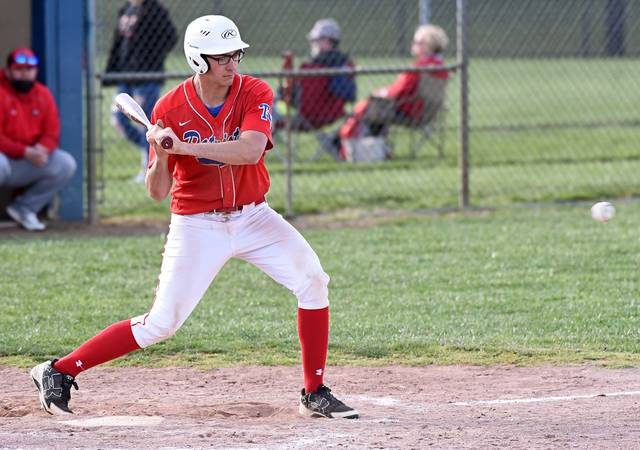 Dylan Finkbine lines a double to drive in the first two Tri-Village runs in CCC win over Tri-County North.