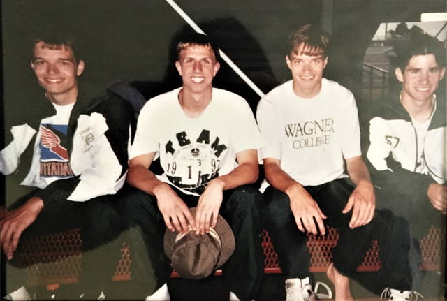 The 1998 record setting Green Wave 4x100 relay team (L-R): Jared McClear, Adam Marchal, Adam McLEar and Kurt Baker.