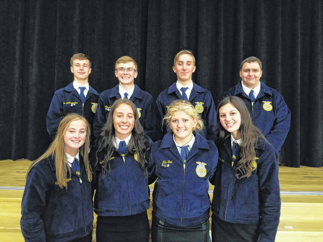 The Arcanum MVCTC FFA held its annual banquet on April 25. Pictured are the newly inducted FFA officers. In the front row from left to right is Reporter Alexis Wilcox, Treasurer Madelyn Fearon, Secretary Ellie Fout and Sentinel Katie Weiss. In the back row from left to right is Vice President Luke Brinksneader, President Landon Haney, Chaplin Caleb Hartman and Student Advisor Ayden Hess.