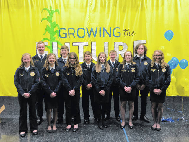 The Mississinawa Valley-MVCTC FFA Chapter held its annual parent and member banquet on March 25. Pictured is the Mississinawa Valley FFA officer team. Front row from left to right is Paytyn Hiestand, Krista Miller, Sierra Grim, Lilly Severance, Kennedy Stachler, Alison Byram. Back row from left to right is Ben Hartzell, Aron Hunt, Brandon Miller, Daniel Hartzell, AJ Waymire.