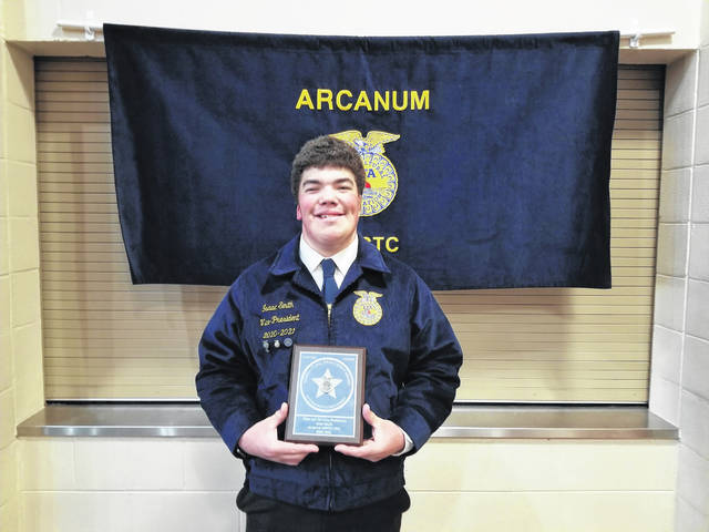 Pictured is Isaac Smith, who was awarded second place in the proficiency area of Fiber and/or Oil Crop Production at the Ohio FFA Convention.