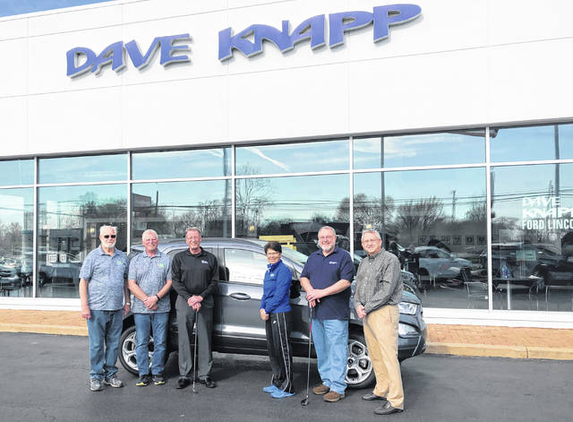 Pictured from left to right are YFC golf committee members Mike Snyder and Pete Cutarelli, Dave Knapp from Dave Knapp Ford, and YFC golf committee members Jody Flommersfeld, Neal Crawford, and Dave Keiser.