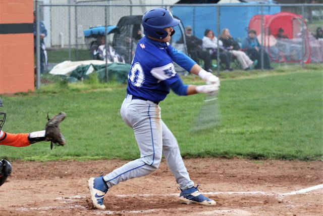 Franklin Monroe's Gabe Sargent drills a hit for the Jets in the team's win at Ansonia.