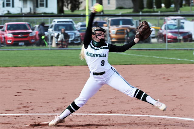 Grace Shaffer pitches the Lady Wave to a shutout MVL win over West Carrollton on senior night at Stebbins Field.